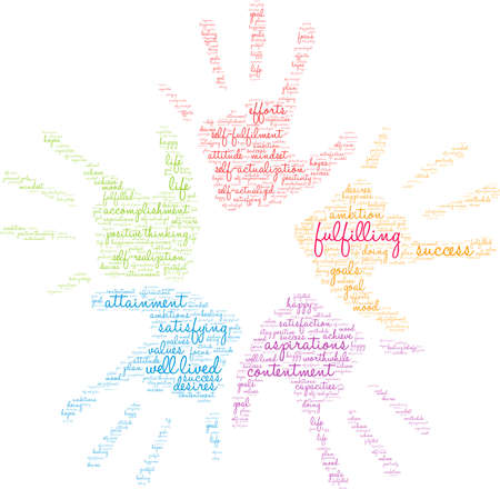 Fulfilling word cloud on a white background. Illustration