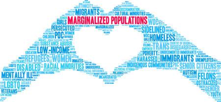 Marginalisierte Bevölkerungen Wortwolke auf weißem Hintergrund.