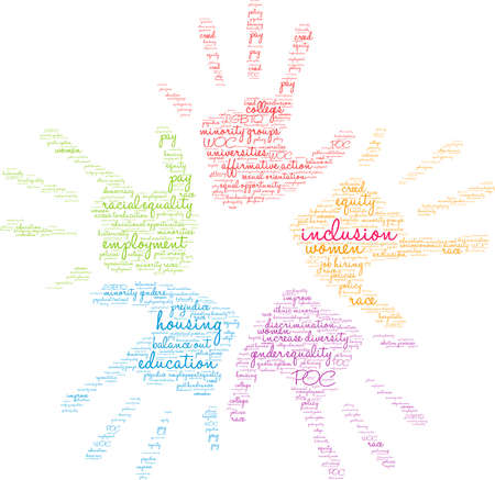 Inclusion word cloud on a white background. Vetores