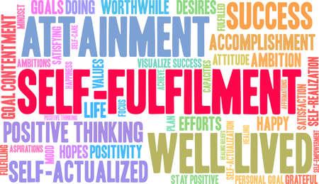 Self-Fulfilment word cloud on a white background. Иллюстрация