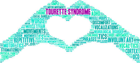Tourette Syndrome word cloud on a white background. Stock Illustratie