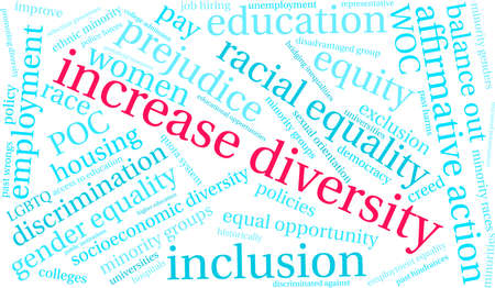 Increase Diversity word cloud on a white background.