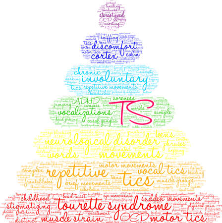 TS Tourette Syndrome word cloud on a white background.