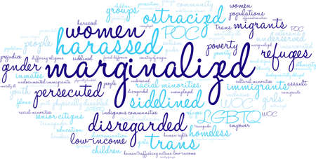 Marginalized word cloud on a white background.