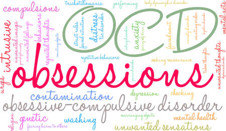 Obsessions word cloud on a white background. Illusztráció