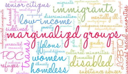 Marginalized Groups word cloud on a white background. Иллюстрация