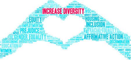 Augmenter la diversité nuage de mots sur un fond blanc. Vecteurs