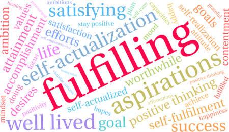 Fulfilling word cloud on a white background.  Ilustração