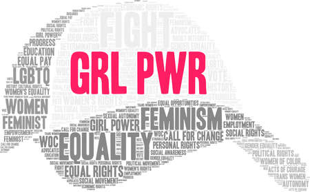 GRL PWR word cloud on a white background. This word cloud title is an alternative spelling to Girl Power.