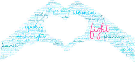Womens Rights Fight word cloud on a white background.