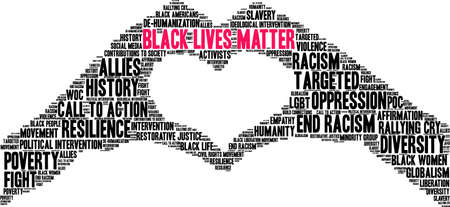 Black Lives Matter word cloud on a white background. Illustration
