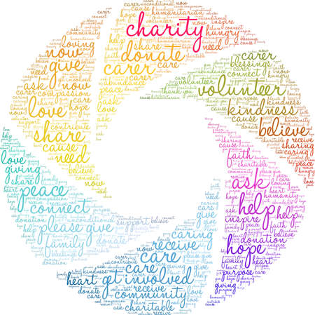 Charity word cloud on a white background. Stock Illustratie