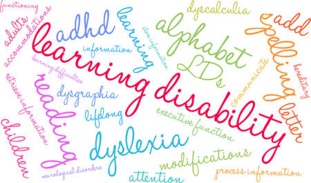 Learning Disability word cloud on a white background. 版權商用圖片 - 130561146