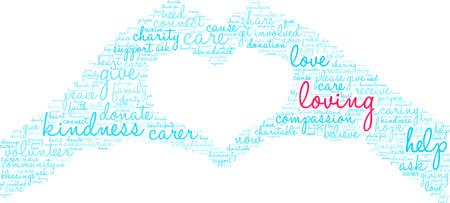 Nuage de mots d'amour sur un fond blanc.