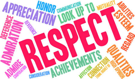Respect word cloud on a white background. Illustration