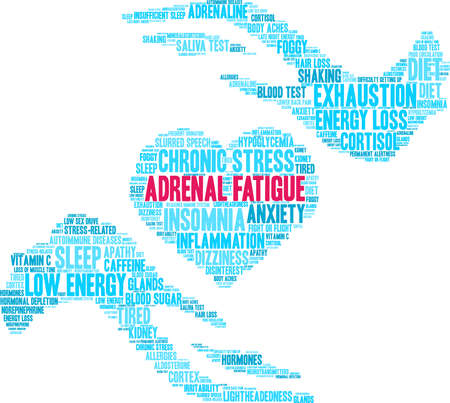 Adrenal Fatigue word cloud on a white background. 版權商用圖片 - 130731488