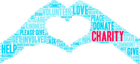 Charity word cloud on a white background. Çizim