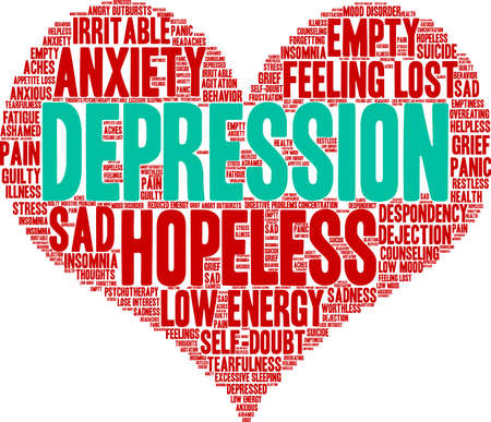 Depression word cloud on a white background. Stockfoto - 130731538