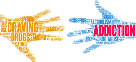 Addiction word cloud on a white background. Stockfoto - 130731547