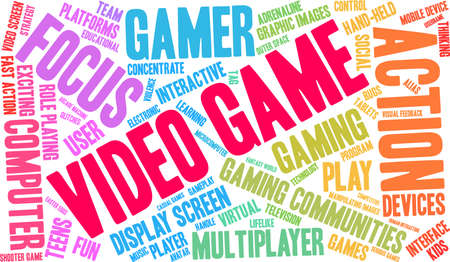 Video Game word cloud on a white background. Stockfoto - 130731549
