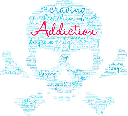 Addiction word cloud on a white background. Stok Fotoğraf - 130731627