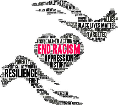 End Racism word cloud on a white background. Illustration