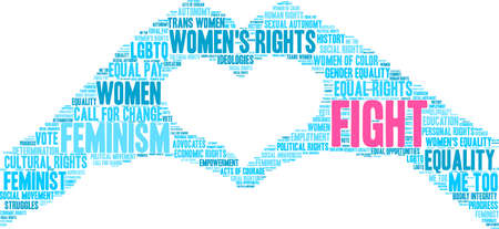 Womens Rights Fight word cloud on a white background. Illustration