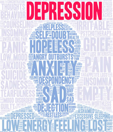 Depression word cloud on a white background. Stockfoto - 130731650