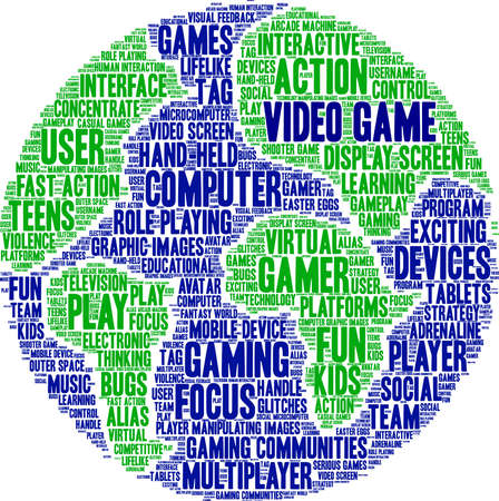 Video Game word cloud on a white background. Illustration