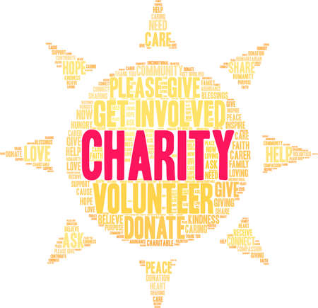 Charity word cloud on a white background. Stockfoto - 130731737