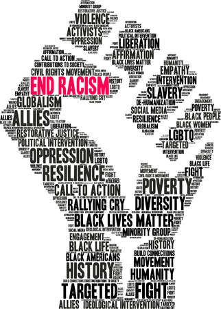 End Racism word cloud on a white background. Ilustração