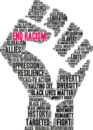 Poner fin al racismo nube de palabras sobre un fondo blanco. Ilustración de vector