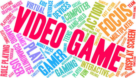 Video Game word cloud on a white background. Stockfoto - 130731740