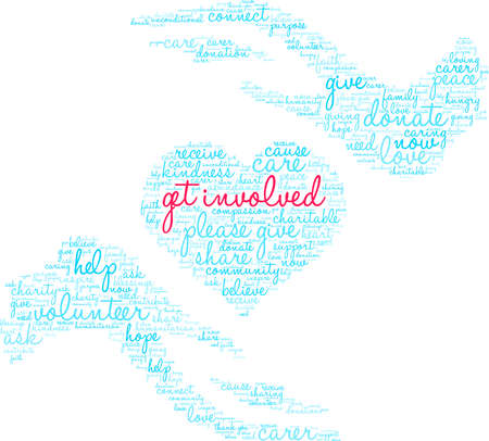 Get Involved word cloud on a white background. Stockfoto - 130731744