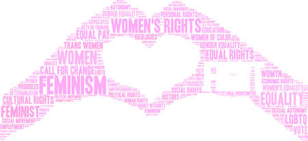 Womens Rights Fight word cloud on a black background. Stockfoto - 130731923