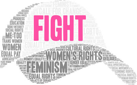 Womens Rights Fight word cloud on a white background. Stockfoto - 130731922