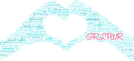 GRL PWR word cloud on a white background. This word cloud title is an alternative spelling to Girl Power. Çizim