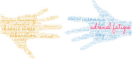 Adrenal Fatigue word cloud on a white background. Stockfoto - 130731933