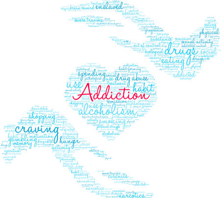 Addiction word cloud on a white background. Stok Fotoğraf - 130731936