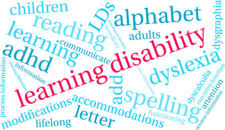 Learning Disability word cloud on a white background. Stock Illustratie