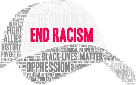 End Racism word cloud on a white background. Stock Illustratie