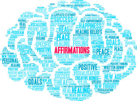 Affirmations word cloud on a white background. Фото со стока - 130733188