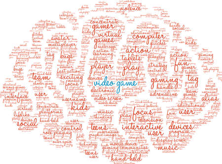 Video Game word cloud on a white background. Stock Illustratie