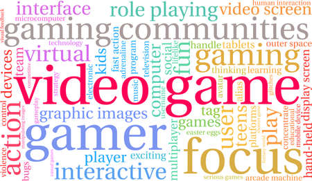 Video Game word cloud on a white background.  일러스트