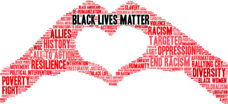 Black Lives Matter word cloud on a white background. Stock Illustratie