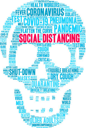 Social Distancing word cloud on a white background. Ilustrace