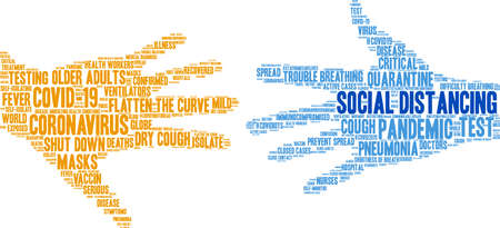 Social Distancing word cloud on a white background.