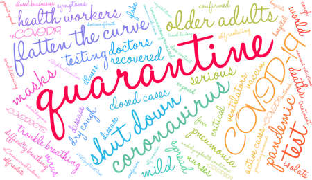Quarantine word cloud on a white background. Vettoriali