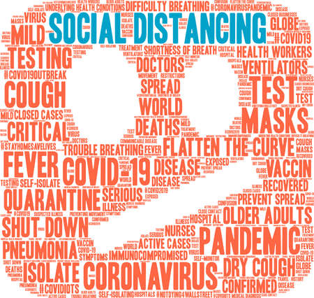 Social Distancing word cloud on a white background. Vettoriali