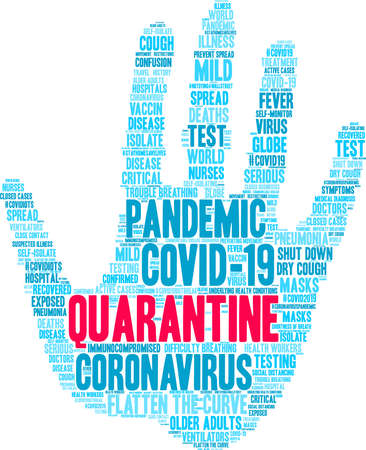 Quarantine word cloud on a white background. Vectores